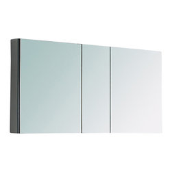 Fresca - Fresca Large Bathroom Medicine Cabinet w/Mirrors - This large sized medicine cabinet features mirrors everywhere. The edges of the medicine cabinet have mirrors and so does the back of the inside and the back of each of the doors. The inside features four tempered glass shelves.