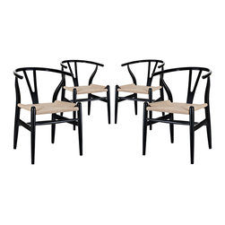 LexMod - Amish Dining Armchair Set of 4 in Black - Time flows effortlessly through the Amish wooden bar stool. The craftsmanship is evident throughout a piece that appears both petite and boldly courageous. While Amish conveys a transitional feel with its solid beechwood back and base, the result is an enduring design with a style that doesn't fade. Given the iconic form and staggered-level wooden support rods, Amish deftly develops the interplay between permanence and sequential movements forward. The seat is made of paper rope, a new twine that is eco-friendly, soft, anti-static and durable.