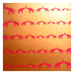 """Jill Malek - Baby Elephant Walk Red Saffron Sample - Baby Elephant Walk has a 27"""" x 36"""" repeat and is a straight-across pattern match. All rolls are hand-screen printed and come untrimmed and unpasted in 27"""" x 15 ft rolls. All wallpaper is printed in upstate New York."""