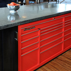 Kitchen Island-Cabinetry - Snap On tool box drawers in island.