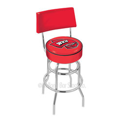 "Holland Bar Stool - Holland Bar Stool L7C4 - Chrome Double Ring Western Kentucky Swivel Bar Stool - L7C4 - Chrome Double Ring Western Kentucky Swivel Bar Stool w/ Back belongs to College Collection by Holland Bar Stool Made for the ultimate sports fan, impress your buddies with this knockout from Holland Bar Stool. This retro L7C4 logo stool has a 4"" cushion with a tough double-ring base with a chrome finish and a cushioned back to achieve maximum comfort and support. Holland Bar Stool uses a detailed screen print process that applies specially formulated epoxy-vinyl ink in numerous stages to produce a sharp, crisp, clear image of your team's emblem. You can't find a higher quality logo stool on the market. The structure is triple chrome-plated to ensure a rich, polished finish that will last ages. Barstool (1)"