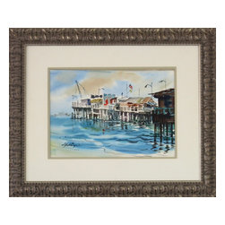Consigned Original Watercolor Painting, Seaside Pier - Original vintage watercolor of a seaside pier by artist, S. Huthings.