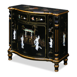 China Furniture and Arts - Black Lacquer Hall Way Cabinet - Decorated with mother of pearl, this exquisite cabinet can be used in a hall way or as a server for the dining room. Handcrafted in China, it is finished by using a labor intensive, traditional lacquer technique that gives this cabinet its beauty. A maidens-in-the-garden scene is depicted on all sides. Two exterior drawers and removable shelf behind two doors provide ample storage space. Beautiful yet practical for your home furnishing.