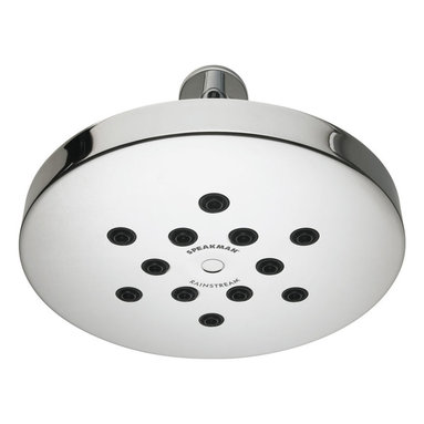 Speakman - Speakman Rainstream Modern Round Rain Shower in Polished Chrome - Enjoy the luxurious side of Mother Nature. But even she could not conjure clouds perfect enough to produce the drenching downpours of the Speakman Rainstream Modern Round Rain Shower. Seduce your senses with 12 patented Speakman Rainstream spray nozzles that deliver 96 individual flood soaking streams. A durable, solid-brass construction ensures that even the unpredictability of the weather will not interrupt your morning monsoon.