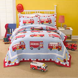 None - Firetruck Cotton/Polyester Embellished Applique Patchwork 3-piece Quilt Set - Decorate your child's bedroom with bright and cheery colors using this firetruck applique quilt bedding set. The patchwork quilt features a navy background covered with bright, red firetrucks that provide a fun addition to any kid's bedroom.