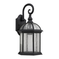 None - Transitional Black / Clear Seeded Glass 1-light Outdoor Fixture - Give your patio a touch of elegance with these outdoor light fixtures, featuring clear-seeded glass for a bright light. Designed to be easily mounted to walls, this black light fixture is resistant to corrosion and weather for long-lasting durability.