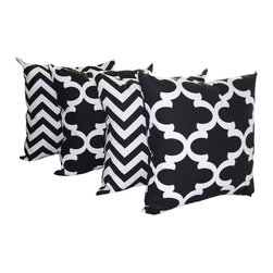 Land of Pillows - Fynn Quartrefoil Moroccan and Zig Zag Chevron Black Set of 4 Throw Pillows 20x20 - Fabric Designer - Premier Prints