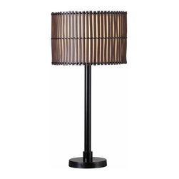 Kenroy Home - Kenroy 32279BRZ Bora Outdoor Table Lamp - With a look of hand lashed slats in its distinctive shade, Bora brings an exotic influence to a tropical decor or cabana setting. Totally casual, this Primitive design is made contemporary by a glowy inner drum shade that keeps light warm and even. Available as a 29 inch table lamp, Bora can be paired with its matching 59 inch floor lamp. Can be used outdoors or indoors, is rated for wet locations, and uses 1-100 Watt 3-Way Bulb.