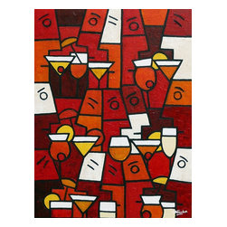 """Cocktail Party, Original, Painting - """"What could be better than sharing summer cocktails with friends. Painted in red, orange, cream and yellow tones bounded by black lines, a deeply textured piece in Simon's unique style, a stunning work of abstract art for any home. Depicting people drinking cocktails together, and in my imagination having lots of fun too.  This wonderful sumptuous abstract will make a fantastic color accent in any modern interior design. """""""
