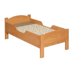 Little Colorado Traditional Toddler Bed - No Cutout - The Little Colorado Traditional Toddler Bed gives your toddler the opportunity to feel all grown up but on the weekends they can still sleep in. With such a classic and durable design you'll be able to use this bed for years to come as the transition away from the crib gets easier and easier. This toddler bed stands low to the ground making it easy and safe for little ones to climb in and out of bed. Equipped with side rails this bed will protect your sleeping toddler. It's available in nine different finishes (based on availability): Honey Oak Lavender Light Green Linen Natural Lacquer Powder Blue Soft Pink Solid White or Unfinished. Recommended for children 18 months to 4 years old. Weight capacity: 50 pounds. Dimensions: 55L x 30W x 22H inches.Little Colorado is a Green CompanyAll finishes are water-based low-VOC made by Sherwin Williams and other American manufacturers. Wood raw materials come from environmentally responsible suppliers. Unfinished Natural Honey Oak and Espresso finishes are all constructed of Pine. All other finishes use MDF that is manufactured in the USA by Plum Creek and is certified green CARB-compliant and low-formaldehyde. All packing insulation is 100% post-consumer recycled. All shipping cartons are either 100% post-consumer recycled or are made of recycled cardboard.About Little ColoradoThis item is made by Little Colorado. Begun in 1987 Little Colorado Inc. creates hand-crafted children's furniture from solid wood. It is a family-owned business that takes pride in building products that are classic stylish and valued just right. All Little Colorado products are proudly made in the U.S.A. with lead-free paints and materials. With a look that is very expensive but a price that is not Little Colorado products bring quality and affordability to your little one's room.
