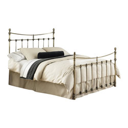 Fashion Bed - Fashion Bed Leighton Bed in Antique Brass-Full size - Fashion Bed - Beds - B31284 - The Leighton Bed combines elements of classical European Baroque architecture with the simplistic style of the Modernist period. Straight-lined spindles are accented with ornamental scalloped castings, and rounded posts are completed with delicate foot castings and finials. The Glazed Brass finish is perfected by patina, complementing the aesthetics of the piece nicely, while still maintaining the gloss of a new brass bed frame. Warm your bedroom space with touches of old and new style with the Leighton Bed.