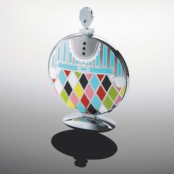 Alessi - Alessi Fatman Folding Cake Stand - A decorative object for the home or a cake stand, two objects in one Folding cake stand in 18/10 stainless steel mirror polished with decoration. Fatman was designed by Marcel Wanders who has focused his attention on the object's decoration, creating a kind of colourful suit in which to dress the cake stand. This aspect makes the object versatile: closed, it is a table sculpture; open it becomes a multi-tier cake stand for table service. Manufactured by Alessi.Designed in 2012.
