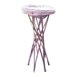 """Master Garden Products - Willow Pedestal Planter, 15""""W x 34""""H - Willow pedestal planter consists of a round planter and a retractable stand, made easy to set up and store away during the winter months for your convenience. The round willow tub at the top has a plastic liner to hold the soil. The overall height is 34, the round tub is 15""""W and 4"""" deep. Can be used indoor with a potted plant."""