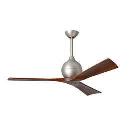 Matthews Fan Company - Irene-3 - Ceiling Fan | Atlas Fans - Cutting a figure like no other, the Irene-3 is rustic, yet strikingly modern.Irene-3 is inspired by the golden age of aviation with three neatly joined propeller-shaped, solid walnut-stained wooden blades. A spherical motor housing complements its minimal profile. Irene-3 is streamline while still appearing warm and natural.Manufacturer:�Atlas Fan CompanySize:�8 in. height x 60 in. diameter x Various downrods length�available - field cuttable.�Canopy 6 in.Certifications: UL