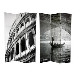 Oriental Unlimted - Reversible 6 ft. Tall Coliseum & Canal Canvas - One double-sided divider, both sides shown in image. 2 Powerful black and white photographs of iconic Italian civic architecture grace the panels of this screen. The front side is a photo of a stunning bridge in Venice, with a gondola and driver passing underneath. The backside is a cropped black and white photograph of the Roman coliseum. Attractive imagery in a simple, beautiful style makes this screen perfect for any room. Each side has a different image. High quality wood and fabric covered room divider. Well constructed, extra durable, kiln dried Spruce wood frame panels, covered top to bottom, front, back and edges. With tough stretched poly-cotton blend canvas. 2 Extra large, beautiful art prints - printed with fade resistant, high color saturation ink, creating 2 stunning, long lasting, vivid images, powerful visual focal points for any room. Amazingly inexpensive, practical, portable, decorative accessory. Almost entirely opaque, double layer of canvas, providing complete privacy. Easily block light from a bedroom window or doorway. Great home decor accent - for dividing a space, redirecting foot traffic, hiding unsightly areas or equipment. Providing a background for plants or sculptures, or use to define a cozy, attractive spot for table and chairs in a larger room. Assembly required. 15.75 in. W x 70.88 in. H (each panel)