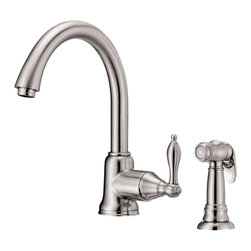 "Danze - Danze D401540SS Kitchen Faucet W/ Spray Stainless Steel - Danze D401540SS Stainless Steel Single Handle Kitchen Faucet with Spray is part of the Fairmont Kitchen collection.  D401540SS 2 hole installation Kitchen Faucet with matching brass side spray has a 8"" long and 10 3/4"" high spout.  D401540SS Single lever handle meets all requirements of ADA.  California and Vermont compliant."