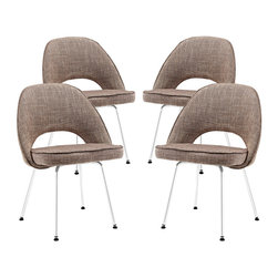 LexMod - Cordelia Dining Chairs Set of 4 in Oat - Participate in renewed growth and actualization with the Cordelia Side Chair. Sit comfortably as an aspirational back and up-surging arms compliment a dual-tone tweed fabric cushion. Sleek chrome legs solidify the progress as unlocked potentials are established with ease.
