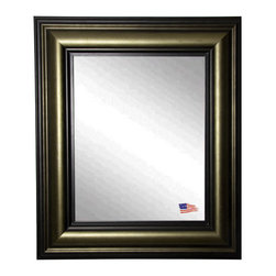 Rayne Mirrors - USA Made Stepped Vintage Wall Mirror - This stately wall mirror has shades of black and bronze in its unique roundedprofile. Its distinguished feel it a sure stand out in any decor.  Rayne's American Made standard of quality includes; metal reinforced frame corner  support, both vertical and horizontal hanging hardware installed and a manufacturers warranty.