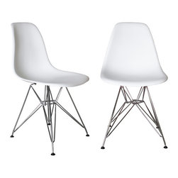 Laura Davidson - Laura Davidson Chelsea Eiffel DSR Side Chairs (Set of 2) - Classic Eames style Eiffel DSR molded plastic chairs from Laura Davidson.