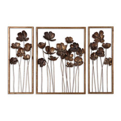 Uttermost - Metal Tulips Wall Art, Set of 3 - You won't have to tiptoe through the tulips when you hang this metal wall art in your space. The hand-forged metal is finished in antiqued gold leaf and washed with charcoal gray lending depth and interest.
