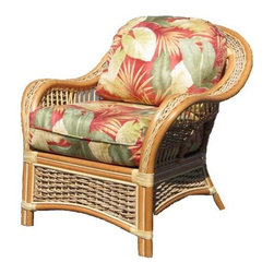 Spice Island Wicker - 34 in. Upholstered Arm Chair in Natural (Natural) - Includes cushions. Casual style. Made from wicker. No assembly required. 34 in. W x 35.75 in. D x 32.5 in. H (40 lbs.)