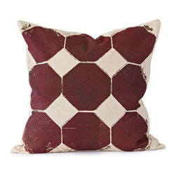BY MERCATO - Burgundy Octagon Throw Pillow - Our burgundy octagon pillow design uses layered burgundy and brown color on tan fabric. The octagons are accented with brown imperfect spattering and detail to create even more visual interest. The end result is a very graphic and artistic decorative design.