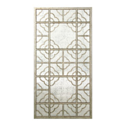 Anna's Egliomise Mirror - Moroccan-inspired, scalloped tiles come together to create an unusual floral design in Anna's Eglomise Mirror, a grand-scale rectangular piece that brings the glory of the French Empire period to your surroundings in ideal transitional taste. The mirror's simple frame is a rustic metallic silver brushed by time's dulling strokes but warmed by the patina of age a perfect complement to the double square of arabesque florals within.