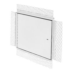 """Best Access Doors - Fire Rated Un-Insulated Access Door with Plaster Flange, High Quality White Powd - The BA-PFN-PLY access door is not insulated and can only be used on fire rated walls, specifically those made of plaster. Once covered with plaster, the 2 3/4"""" lath flange will disappear, leaving only the door panel visible. As per UL standards, once the installation is complete and the provided springs installed, this door will be self closing and self locking. It should not be used in situations where protection against temperature elevation is required. The largest fire rated PFN-PLY door available is: (36"""" x 36""""). BA-PFN-PLY fire rated access door specifications,    -  Material: 16 gauge cold rolled steel frame and 20 gauge galvanneal steel door Insulation: 2"""" mineral wool Hinge: Continuous piano hinge Lock / latch: Self latching tool-key operated slam latch and/or ring operated slam latch, both included Inside panel release: Included on all slam latch fire doors Automatic panel closer: Standard on all doors Finish: DuPont high quality white powder coat Packaging: Individually wrapped, 1 per box Fire Rating: For installation in vertical wall assemblies 2 hour fire barrier, rating 11/2 hours. Access/Door Frame Assembly (uninsulated) for installation in vertical wall assemblies. Maximum door size of: 36"""" x 36"""". Standards listed: NFPA 252-2003, UL 10b, UL-555, CAN/ULC S112 M90-R2001, CAN/ULC S104-10. : MEA # 507-06-M Fire rated by Intertek - Warnock Hersey    LEED Certification:    This access door can contribute directly to a project's ability to achieve LEED certification: USA  LEED-NC New Construction & Major Renovations LEED for Schools LEED-CI Commercial Interiors  CANADA  LEED Canada-NC New Construction & Major Renovations LEED Canada-CI Commercial Interiors"""