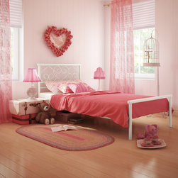 None - Love Twin-size Juvenile Bed - Love's headboard transport kids to a fantasy world,and its hearts shapes energize and soothe the room at the same time. This bed blends beautifully with any decor,evoking nostalgia for the past and growing with its owner.