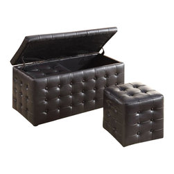 Homelegance - Homelegance Reynolds Storage Bench with 2 Ottomans in Dark Brown - Homelegance - Ottomans - 4720PU