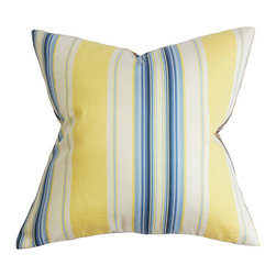 The Pillow Collection - Douce Blue and Yellow 18 x 18 Stripes Throw Pillow - - Pillows have hidden zippers for easy removal and cleaning  - Reversible pillow with same fabric on both sides  - Comes standard with a 5/95 feather blend pillow insert  - All four sides have a clean knife-edge finish  - Pillow insert is 19 x 19 to ensure a tight and generous fit  - Cover and insert made in the USA  - Spot clean and Dry cleaning recommended  - Fill Material: 5/95 down feather blend The Pillow Collection - P18-D-CLAIRESTRIPE-BLUEYELLOW-
