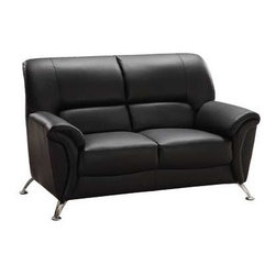 Global Furniture - Leather Match Loveseat w Pillowtop Arms in Black - Made of leather match. 55 in. W x 34 in. D x 35 in. H (73 lbs.)