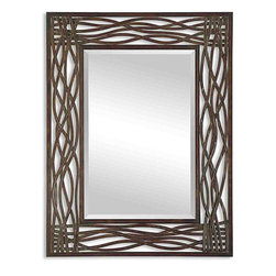 None - Dorigrass Distressed Mocha Rustic Metal Framed Mirror - Bring some rustic class into your home with this distressed mocha rustic metal framed mirror. The design of the hand-crafted metal frame is like intertwined twigs, while the mirror itself has over an inch bevel. It weighs 43 pounds.
