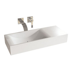 Matte White Wall Hung Solid Surface Stone Resin Sink