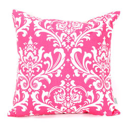 Majestic Home - Indoor Hot Pink and White French Quarter Large Pillow - Won't this lively pattern look great in your mix? Available in a host of cool colors, it complements the stripes and solids already in your decor, and the durable cotton twill fabric feels as good as it looks.
