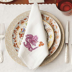 Dragon Napkins, Purple - These stunning heirloom-quality napkins with an embroidered dragon in purple were featured in Southern Living.