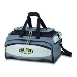 "Picnic Time - Cal Poly Buccaneer Cooler And Barbecue Set - The Buccaneer is a Picnic Time original design and the ultimate tailgating cooler and barbecue set in one! Don't be fooled by other similar looking items on the market. Only Picnic Time's Buccaneer features a PVC cooler that conveniently nests inside the compartment that houses the portable BBQ. The tote can carry the BBQ and a fully-loaded cooler at the same time! This patented, innovative design features a large insulated and fully-removable, water-resistant cooler that measures 16 x 8 x 7"" and holds up to 24 12-oz soda cans. Unzip the cooler from the main tote to access the portable charcoal barbecue grill that's included. The cooler has two carry straps on either side, and features a mesh pocket on the interior lid that fits a large ice pack/gel pack. The Buccaneer also features an adjustable shoulder strap with comfort pad, a reinforced waterproof base, three large zippered exterior pockets to store personal effects, padded carry handles, and a stretch cargo cord on the top of the tote to carry a blanket or towel. Included in the tote are: 1 portable charcoal BBQ grill with lid (16.7 x 10.8 x 5.1""), one black drawstring bag to hold the grill, and three stainless steel tools with aluminum handles and non-slip thumb grips: 1 large spatula featuring a built-in bottle opener, grill scraper, and serrated edge for cutting, 1 pair of tongs, and 1 BBQ fork. Don't be caught without the Buccaneer at your next tailgating party!; College Name: Cal Poly; Mascot: Mustangs; Decoration: Embroidered; Includes: 1 BBQ grill with lid 1 Large spatula with serrated edge 1 Pair tongs 1 BBQ fork 1 Removable, insulated cooler tote"