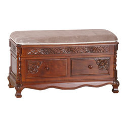 International Caravan - International Caravan Windsor 2 Drawer Storage Bench in Dual Walnut Stain - International caravan - Bedroom benches - 3811 - This bench is perfect to be placed at the end of your bed. Its hand carvings will give your bedroom elegance. It comes with a padded seat for your comfort and extra functionality with the storage compartment.