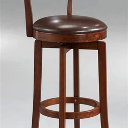 Hillsdale Furniture - Archer Swivel Counter Stool (24.5 in.) - Choose Seat Height: 24.5 in.For residential use. Brown finish. The Archer, available in a brown finish, is a 360 degree swivel barstool with a dark brown faux leather seat, a transitional arched back design and simple, tapered and slightly flared legs. Composed of hardwoods and climate controlled wood composites, minor assembly required. Seat Height: 24.5 in.. 18 in. W x 18 in. D x 38 in. H