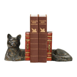 Sterling Industries - Sterling Industries Pair Cat Napping Bookends X-3805-39 - This Sterling Industries pair of bookends features a single cat figure split in two to support your books. An excellent choice for the animal lover, it features beautiful detailing, right down to the serene expression. Bronze finishing adds a traditional touch to this cat napping bookend set.