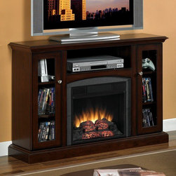 "Classic Flame - Advantage Bancroft 47"" TV Stand with Electric Fireplace - Features: -Plug and Play Simplicity. -Perfect for plasma/LCD TVs. -Integrated Wire Management Channels. -Beveled base with decorative door knobs. -Can be Configured as a Wall or Corner Mantel. -Side framed glass door cabinets with adjustable shelves. Specifications: -Center Shelf: 21.75""w"" x 11.5""d"" x 8.5""h. -Side Cabinets: 12.25""w"" x 10.5""d"" x 27.25""h. -Wall Unit Dimensions: 46.25""w"" x 13""d"" x 33.75""h."