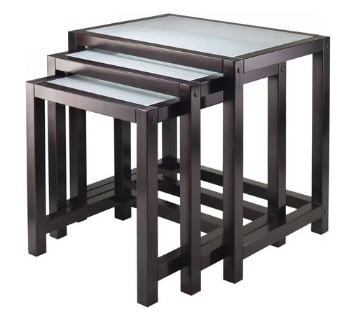 Winsome Wood - Copenhagen 3-Pc Nesting Table Set - Includes small, medium and large table. Tempered frosted glass top. Made from solid, composite wood and glass. Dark espresso finish. Assembly required. Small: 16.85 in. W x 13.58 in. D x 18.11 in. H. Medium: 20 in. W x 14.96 in. D x 19.88 in. H. Large: 23.15 in. W x 16.34 in. D x 21.65 in. H