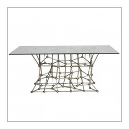 """Worlds Away Molecule 72"""" Dining Table, Silver Leaf - Worlds Away Molecule 72"""" Dining Table"""