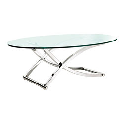 Criss Coffee Table - Set a designated time and place to contemplate with this modern table in action. Tour the breathtaking views of intellectual observation as you properly frame each moment with the Criss Cross Coffee Table. With two intersecting polished chrome rows and a tempered oval glass top, help you focus within and traverse goodness.