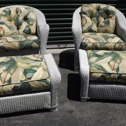 Lloyd Flanders Lloyd Loom Wicker Chairs & Ottomans - Lloyd Flanders Lloyd Loom all-weather white wicker patio chairs from the Reflections series. One armchair, one rocker, and pair of matching ottomans.
