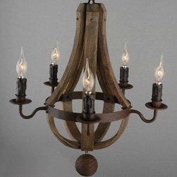 Antique Wood and Iron Art Chandelier -