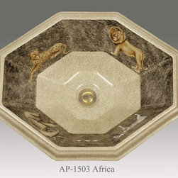"""Hand Painted Drop-in Sinks by Atlantis - """"AFRICA"""" Shown on AP-1503 Seville drop-in sink O/D 20"""" W x 16"""" D center drain with overflow."""