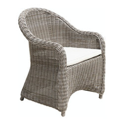 Douglas Nance - Set of four Douglas Nance Monaco Curved Dining Armchairs - Our Douglas Nance Monaco wicker dining chairs are hand-woven in a premium extra-large 5mm fiber, making for heavier and more substantial seating than standard outdoor wicker chairs. The chairs are sized perfectly for comfort and use around a variety of table sizes. All Monaco units use a new synthetic weave material that is closest to natural rattan and come complete with outdoor cushions in the off-white color fabric (as shown).