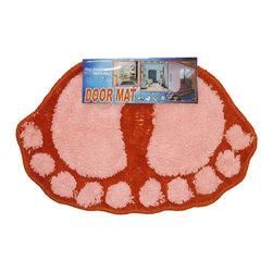 Store51 LLC - Foot Prints Pink-Red Shaggy Accent Floor Rug Door Mat - FEATURES:
