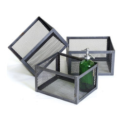 Vintage Chic Home - Square Office Basket - Make this automated trio of wire mesh Square Office Basket part of your office cabin. These look very stylish and will aid in uncluttering your room space. These are made of steel and come in vintage industrial finishing.